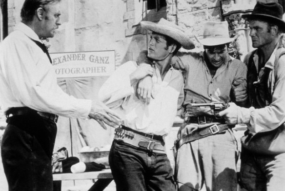 "James Best (far right) with Paul Newman in ""Left Handed Gun"" (1958)"