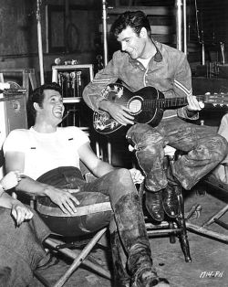 "Rock Hudson and James Best on the set of ""Seminole"" (1953)"