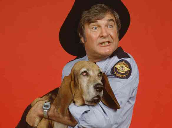 "James Best with Flash in ""Dukes of Hazzard."" He said he never got the girl, so he got a dog."