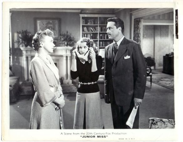 "Sylvia Field, Mona Freeman and Allyn Joslyn in ""Junior Miss"" (1945). Freeman is holding ice to her neck to avoid a sagging chin."
