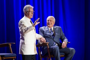 Alex Trebek surprising Robert Osborne during the Ask Robert Event at The Montalban Theatre on Friday at the 2014 TCM Classic Film Festival In Hollywood, California. 4/11/14  PH: Mark Hill