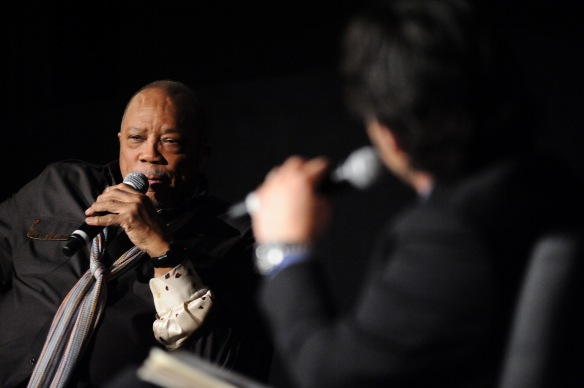 "Quincy Jones during an interview with Ben Mankiewicz during the TCMFF, April 11, 2014. Jones discussed his career and ""The Italian Job"" (Getty Images)"