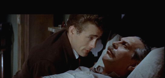 "James Dean talks to movie father Raymond Massey after his stroke in ""East of Eden."""