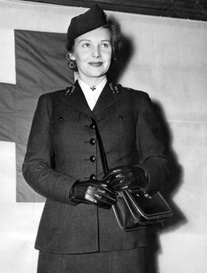 Madeleine Carroll training at the American University in Washington for service in the Red Cross in 1943.