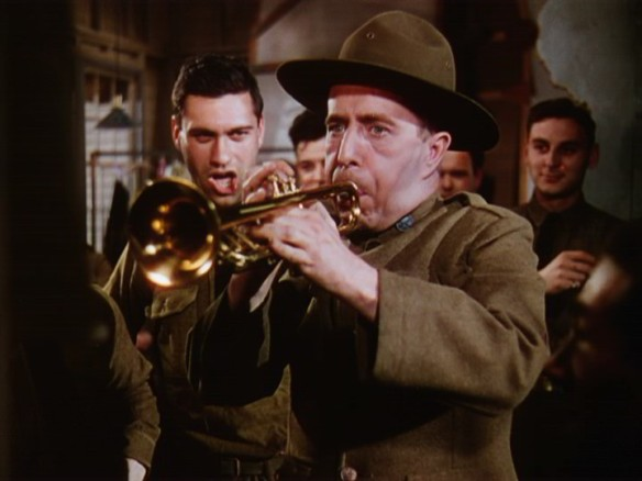 "Character actor Charles Butterworth is the bugler in World War I in ""This is the Army"""