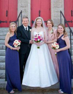 With Mom, Dad and my two sisters at my sister Andrea's wedding in February 2014.