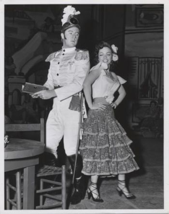 "Van Johnson and Kathryn Grayson dressed for the ""Carmen"" dream sequence in ""Grounds for Marriage."""