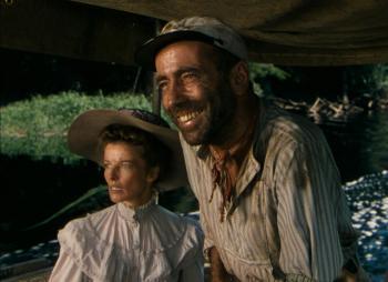 """Katharine Hepburn and Humphrey Bogart in """"African Queen"""" (1951)"""