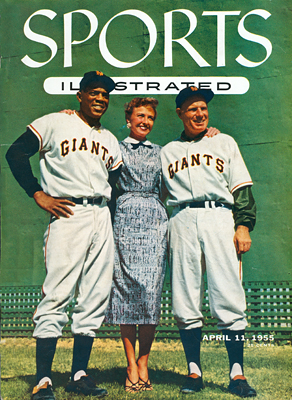 April 1955 Sports Illustrated cover with Willie Mays, Laraine Day and Leo Durocher. The cover sparked controversy in 1955.