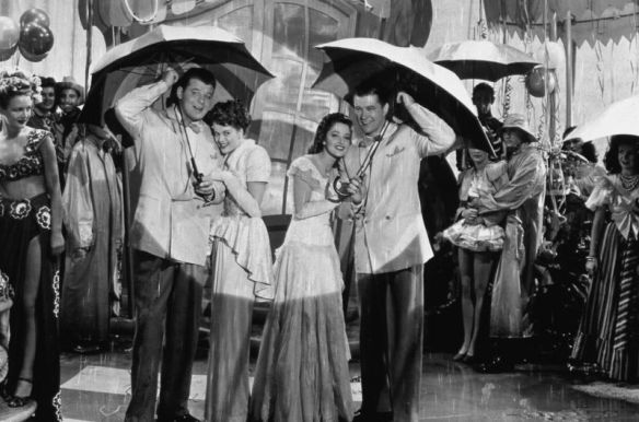 "Jack Carson, Janis Paige, Martha Vickers and Dennis Morgan during the ""Rainy Night in Rio"" number."