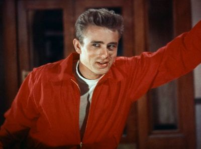 "Actor James Dean in a publicity still for ""Rebel Without a Cause."""