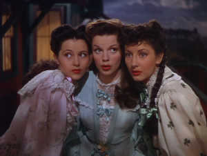"The three female leads: Cyd Charisse, Judy Garland and Virginia O'Brien after singing ""It's a Great Big World"""