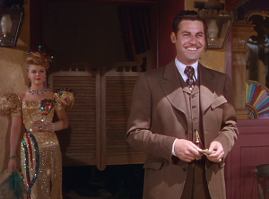 "19-year-old Angela Lansbury and John Hodiak in ""The Harvey Girls"""