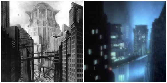 "A city scene from ""Metropolis"" and ""Express Yourself."""