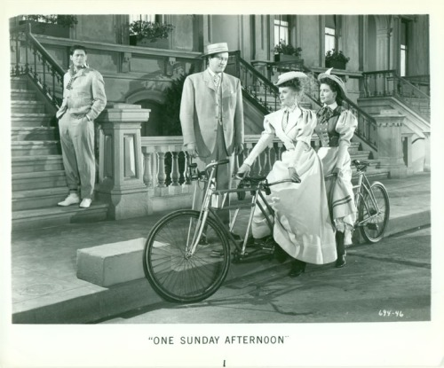 "Hugo and Biff go on a bikeride with Virginia and Amy in ""One Sunday Afternoon"" (1948)."