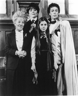 "Charlotte Rae, Diana Rigg, Fairuza Balk and Tim Curry in ""The Worst Witch."""
