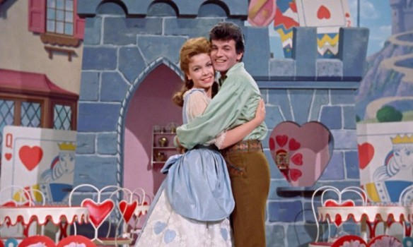 "Annette Funicello as Mary Contrary and Tommy Sands as Tom Piper in ""Babes in Toyland."""
