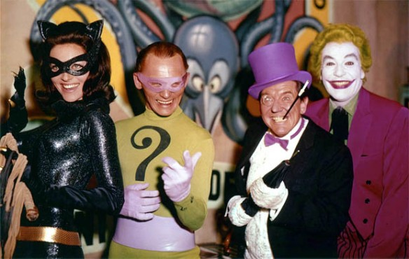 "Lee Meriwether as Catwoman, Frank Gorshwin as the Riddler, Burgess Meredith as the Penguin and Cesar Romero as The Joker in the 1966 ""Batman"" film. Julie Newmar and Eartha Kitt played Catwoman on the TV show."