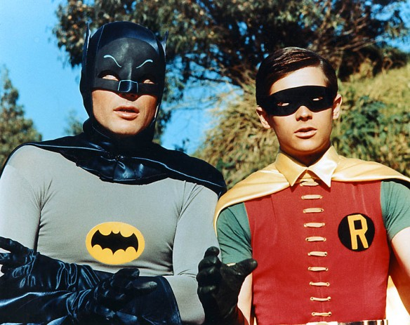 "Adam West as Batman and Burt Ward as Robin int he 1966 ""Batman"" TV show."
