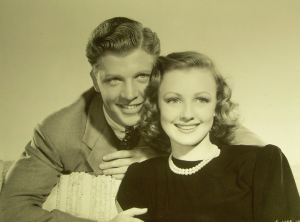"Dan Dailey and Virginia Grey in ""Hullabaloo"" (1940)."