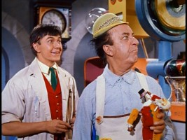 Tommy Kirk as the toy eventer with Ed Wynn who is the Toymaker