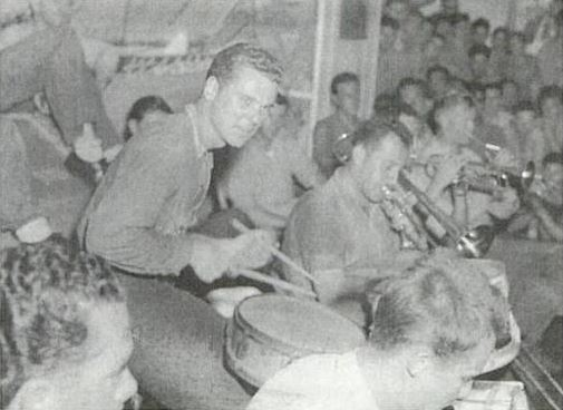 Jackie Cooper playing the drums during World War 2 with Claude Thornhill's band.