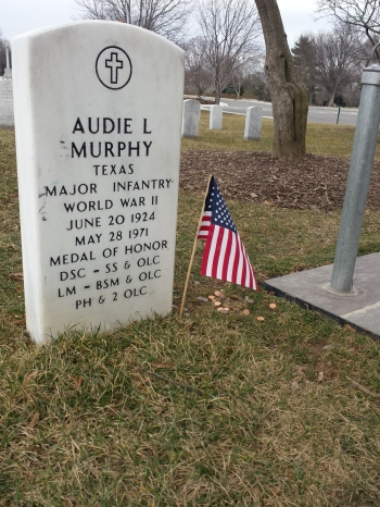 World War II veteran, actor Audie Murphy's grave in Arlington National Cemetery. (Comet Over Hollywood/Jessica P)