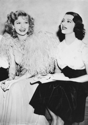 Behind the scenes photo of Lucille Ball and Lily Pons
