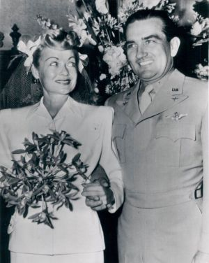 Constance Bennett and John Theron Coulter on their 1946 wedding day.
