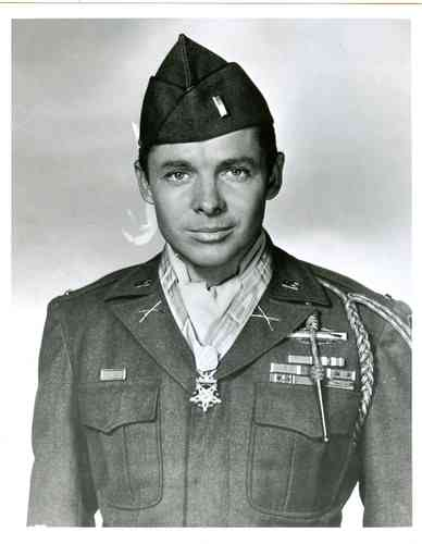 Audie Murphy with the Medal of Honor.
