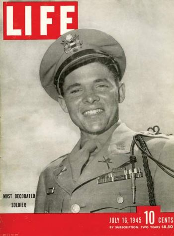 Audie Murphy on the cover of LIFE magazine.