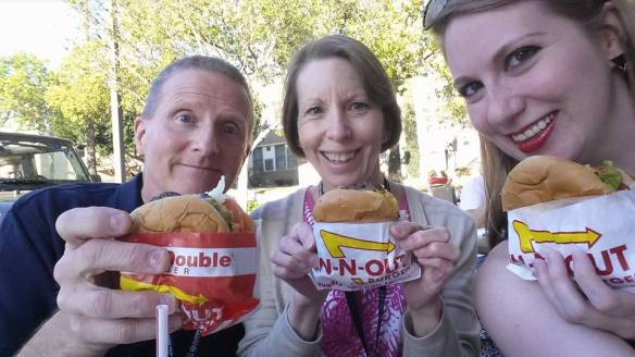 After we left Hollywood, I realized our only photo together was documenting their first In-N-Out Burger experience. (Comet Over Hollywood/Jessica P)