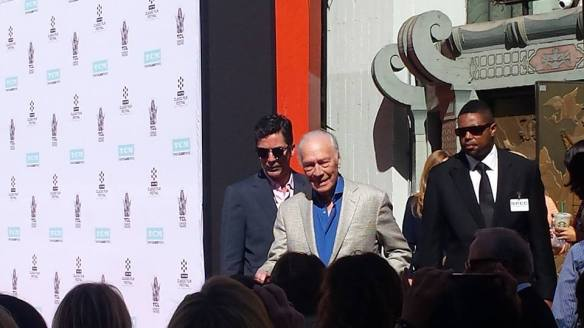 Christopher Plummer exits Grauman's Chinese before his handprint ceremony. (Comet Over Hollywood/Jessica P.)