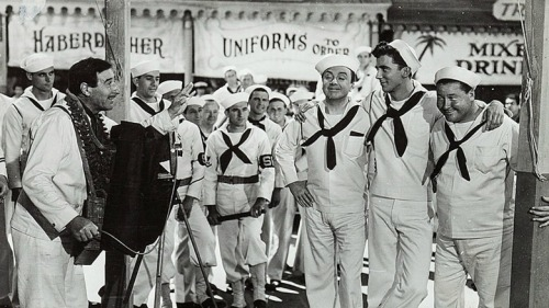 "Jack Haley, Herb Anderson and Jack Oakie in ""Navy Blues."""