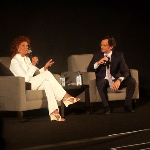 """Actress Sophia Loren being interviewed by TCM host Ben Mankiewicz before """"Marriage Italian Style"""" (Comet Over Hollywood/Jessica P)"""