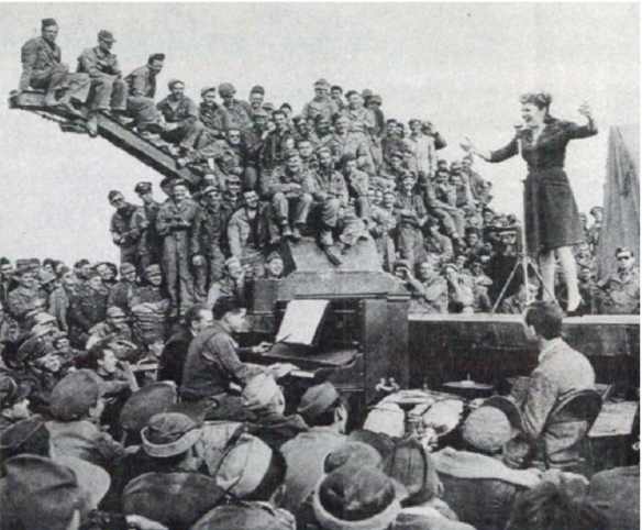 Martha Raye performing in Africa in 1943.