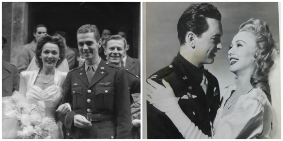 Left: Carole Landis marrying Capt. Thomas Wallace in 1943.  Right: Landis with actor John Harvey in