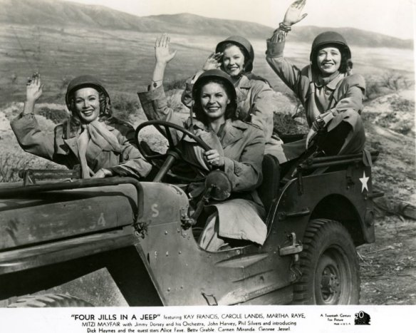 Publicity photo of Mitzi Mayfair, Martha Raye, Carole Landis and Kay Francis