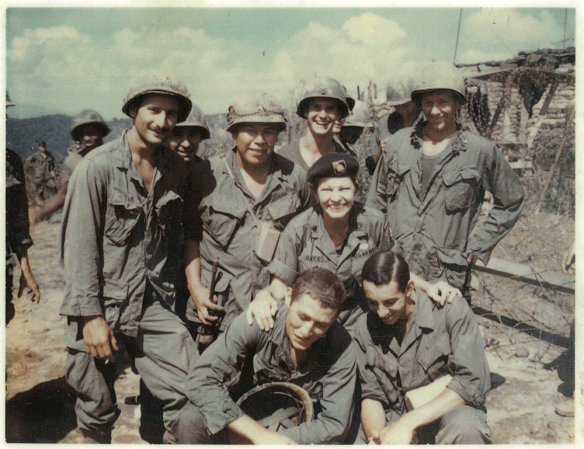 Martha Raye with soldiers in Vietnam.