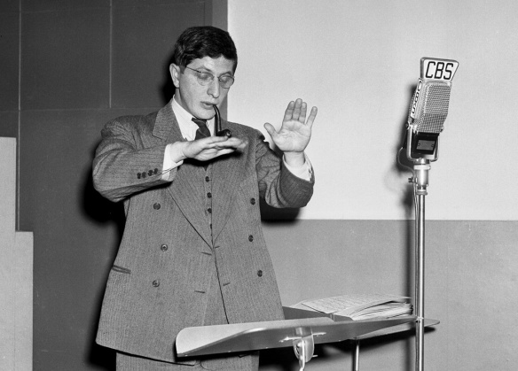 Rehearsal of The Free Company radio drama with conductor Bernard Herrmann. Image dated April 6, 1941. Copyright © 1941 CBS Broadcasting Inc. All Rights Reserved. Credit: CBS Photo Archive. File X4467_2