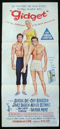 """Gidget"" film poster featuring Cliff Robertson, Sandra Dee, James Darren."