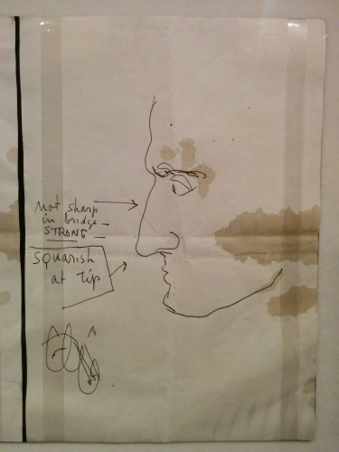 "Sketch made by Orson Welles in August 1958 of how he wanted his makeup to look in ""Compulsion"" (1959)."