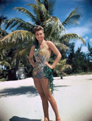 July 1947, Florida, USA --- Original caption: Esther Williams, movie actress, at Biscayne Key, south of Miami, Fla., while on location. --- Image by © Bettmann/CORBIS