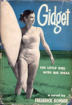 "The 1957 cover for ""Gidget: The Little Girl with Big Ideas,"" featuring Kathy. The book is still available on Amazon."