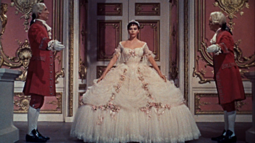 Leslie Caron as Cinderella arriving at the ball in