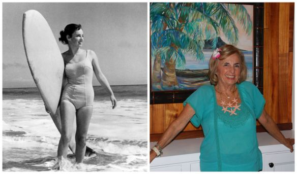 (r) Kathy Kohner in 1957 in the photo that was used on the book cover. (L) Kohner Zuckerman pictured in 2014 at Duke's, where she works.
