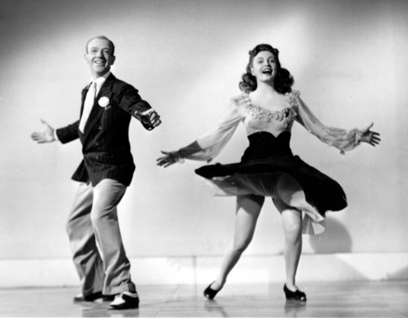 Publicity photo of Fred Astaire and Joan Leslie in