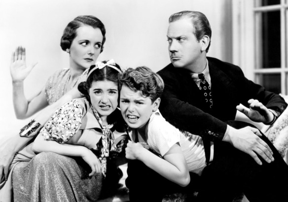 "Publicity photo of Mary Astor, Edith Fellows, Jackie Moran and Melvyn Douglas in ""And So They Were Married."""