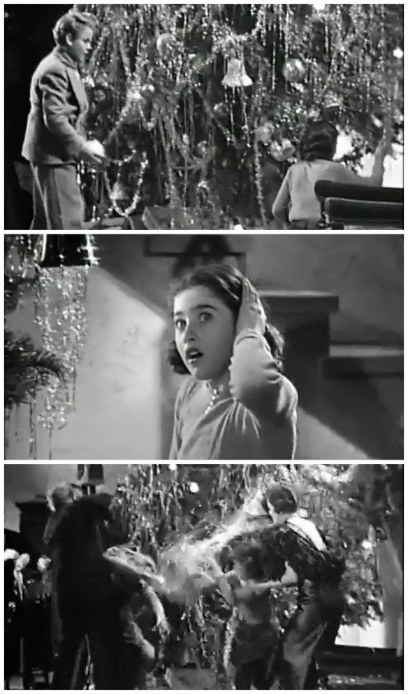 Scenes from the Christmas tree fight: Jackie Moran mistakenly believes Edith Fellow hits him with an ornament, Edith fellows is in shock after their agreement, parents try to separate the fighting children