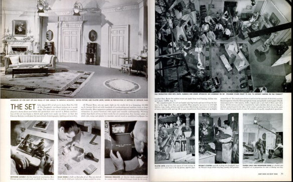"Photo spread by Ralph Crane on ""The Set"" of ""The Doughgirls"" by Warner Brothers. Spreaad looks at how set design is created and the final product. (Scanned by Comet Over Hollywood)"